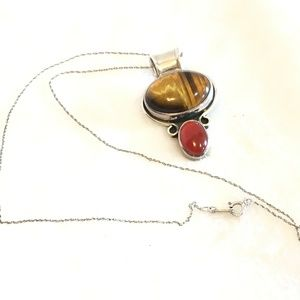 Vtg Sterling Silver Coral & Tigers Eye Necklace